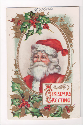 Xmas - A Christmas Greeting - Santa head, shoulders in an insert - C08637