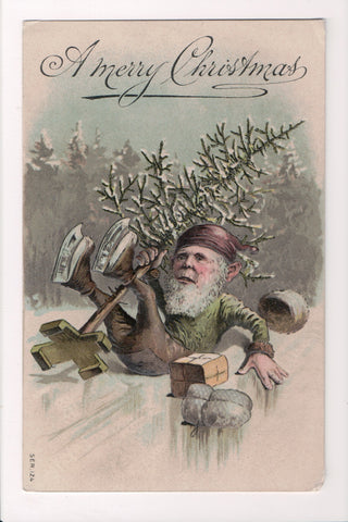 Xmas - A Merry Christmas - Elf with skates on, on his butt postcard - C17052