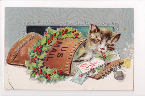 Xmas - Cat in a US Mail Bag with Merry Christmas letter - E05080