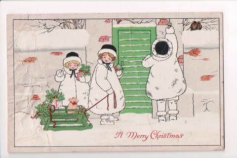Xmas - A Merry Christmas - 3 girls in withe fur pulling sled - E10241 **Damaged / AS IS**
