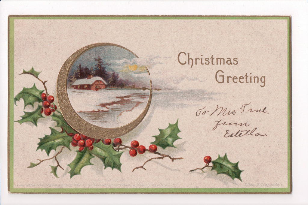 Xmas - Christmas Greeting - Ellen H Clapsaddle signed #1001 - S01229