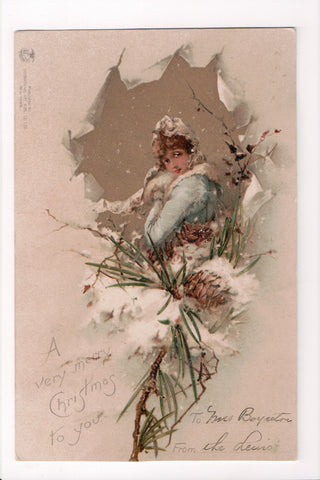 Xmas - A Very Merry Christmas - lady as if thru torn paper - S01411