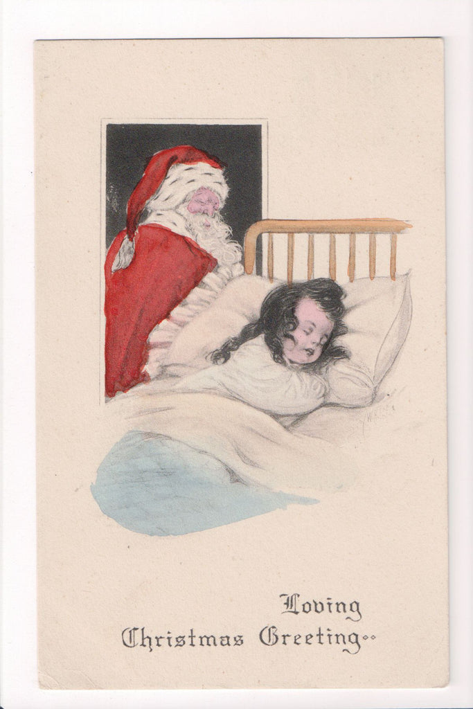 Xmas - Christmas Greeting - Santa watching girl sleep in bed - S01593