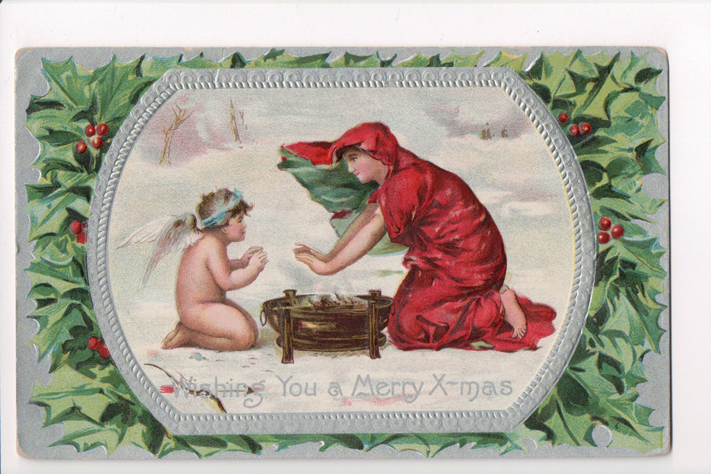 Xmas - Wishing you a Merry, lady in red, bare angel boy - S01595