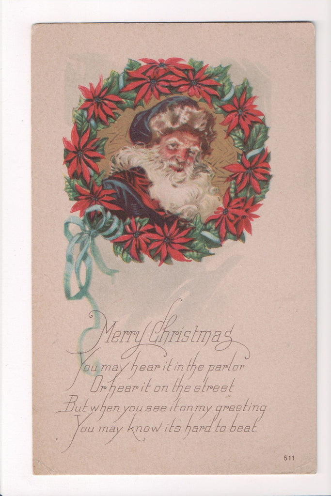 Xmas - Merry Christmas - Santa with blue hat, inside wreath - S01628