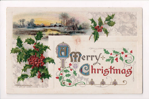 Xmas - A Merry Christmas - @1910 postcard - sw0342 **Damaged / AS IS**