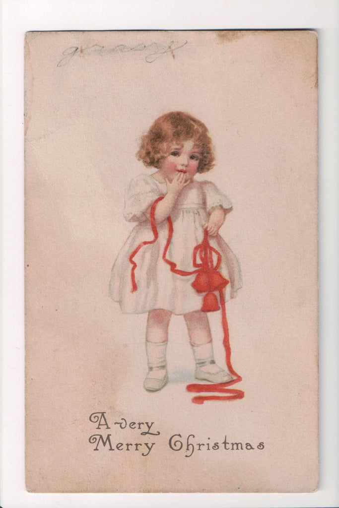 Xmas - A Very Merry Christmas, cute little girl postcard - w02125