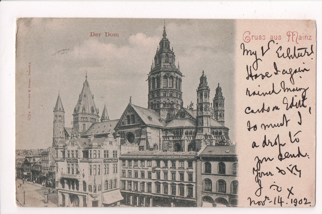 Foreign postcard - Mainz, Germany - @1902 with signs - w04748