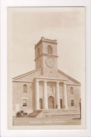 HI, Honolulu - Kawaihao Church closeup - RPPC postcard - A10111