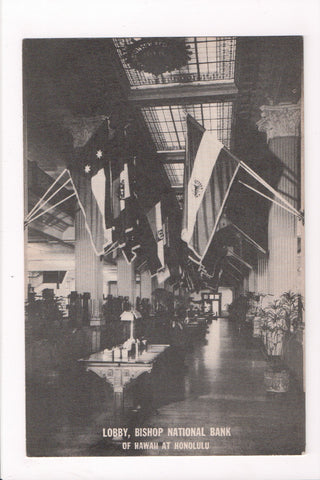HI, Honolulu - Bishop National Bank Lobby postcard - B11139