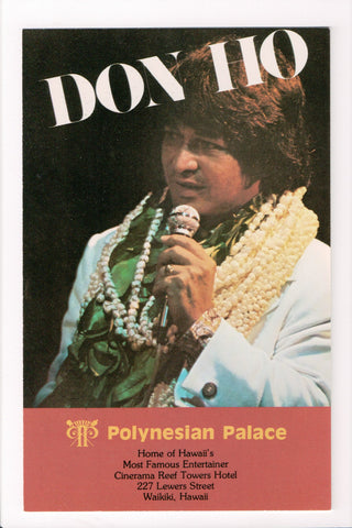 HI, Waikiki - Polynesian Palace - DON HO with microphone postcard - D17123