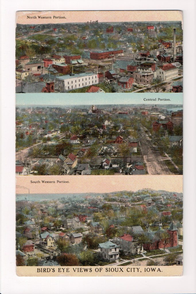 IA, Sioux City - 3 Bird Eye Views - Sioux Post Card Co - 500042