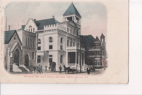 IL, Aurora - Memorial Hall Court House, PO - Schikler card - A12261