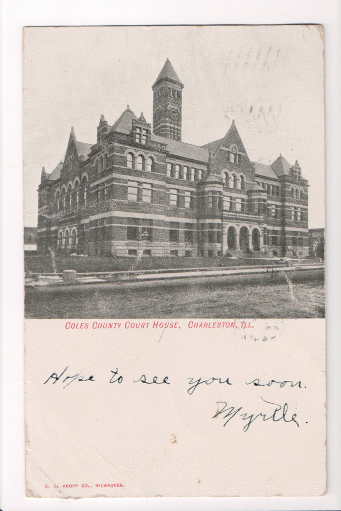 IL, Charleston - Coles County Court House postcard - SL2457