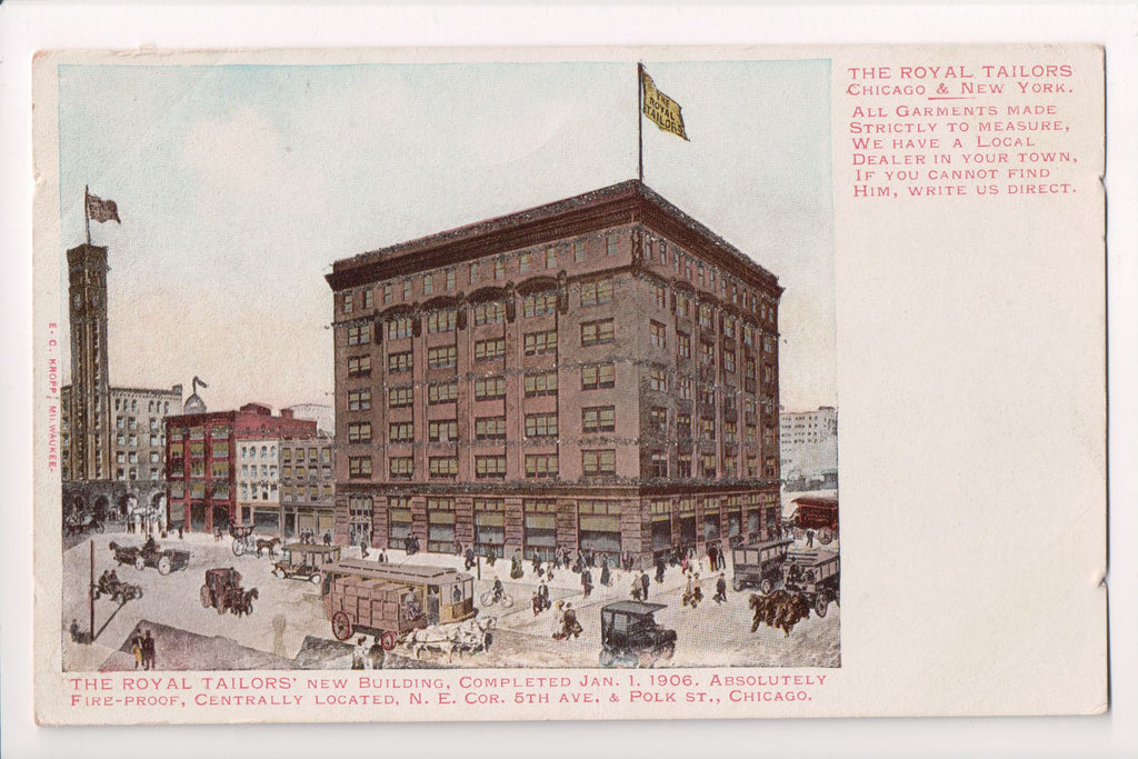 IL, Chicago - Royal Tailors (new) completed 1-1-1906 postcard - CP0233