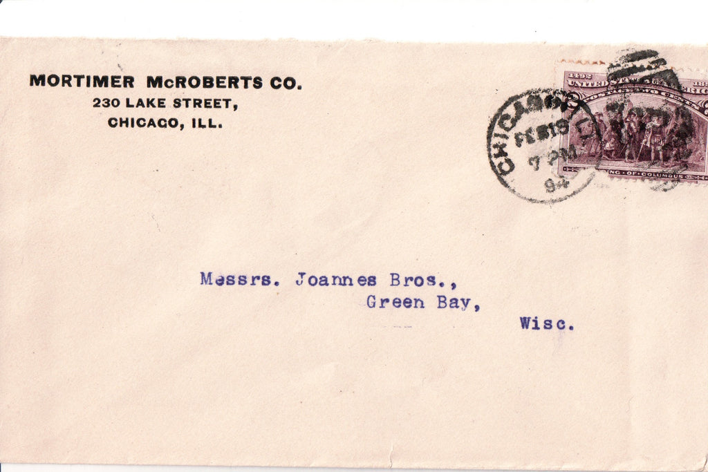 IL, Chicago - Mortimer McRoberts Co envelope - B17067