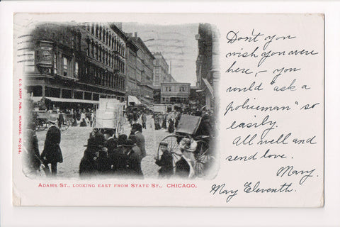 IL, Chicago - Adams St from State St - @1904 postcard - w00688
