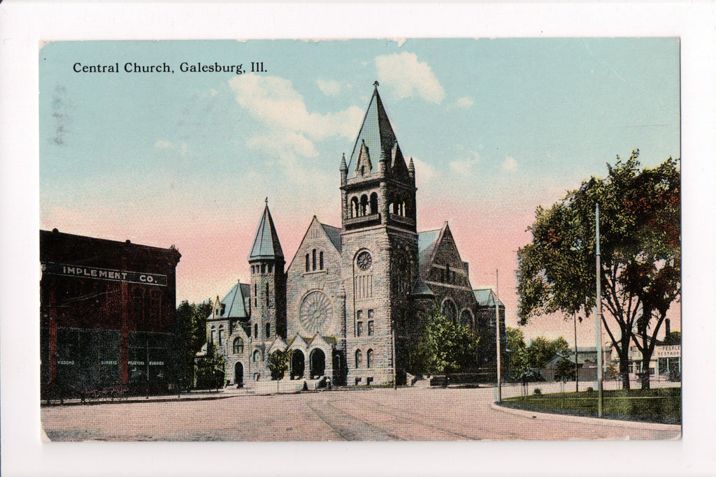 IL, Galesburg - Central Church, Implement Co postcard - C04218