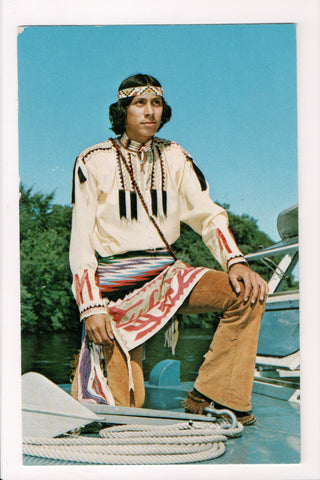 Indian postcard - Lance Little Eagle with Autograph on back - A17305