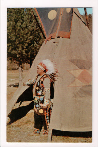 Indian postcard - Native Cherokee Indian Chief, Cherokee, NC - A17308