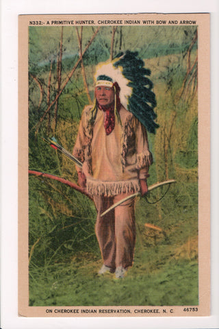 Indian postcard - Cherokee Indian with Bow and Arrow - Cherokee, NC - A17320