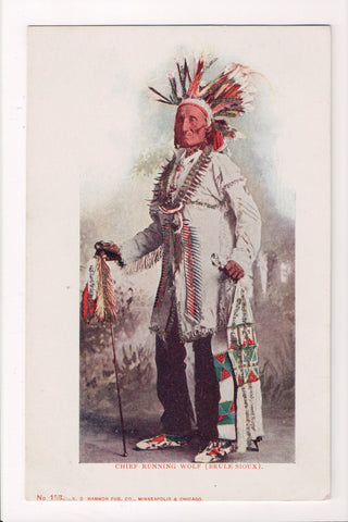 Indian postcard - (Brule Sioux) Chief Running Wolf with decorative stick - CP041