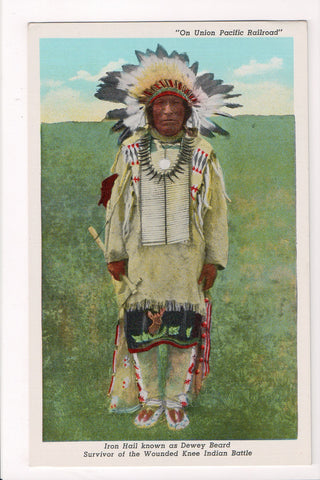 Indian postcard -Iron Hail or Dewey Beard, Survivor of Wounded Knee - D17397