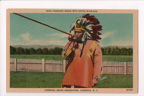 Indian postcard - Cherokee Indian with Native blow gun - MA0128