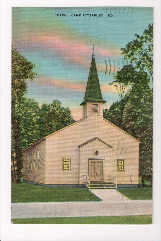 IN, Camp Atterbury - Chapel closeup postcard - w01727