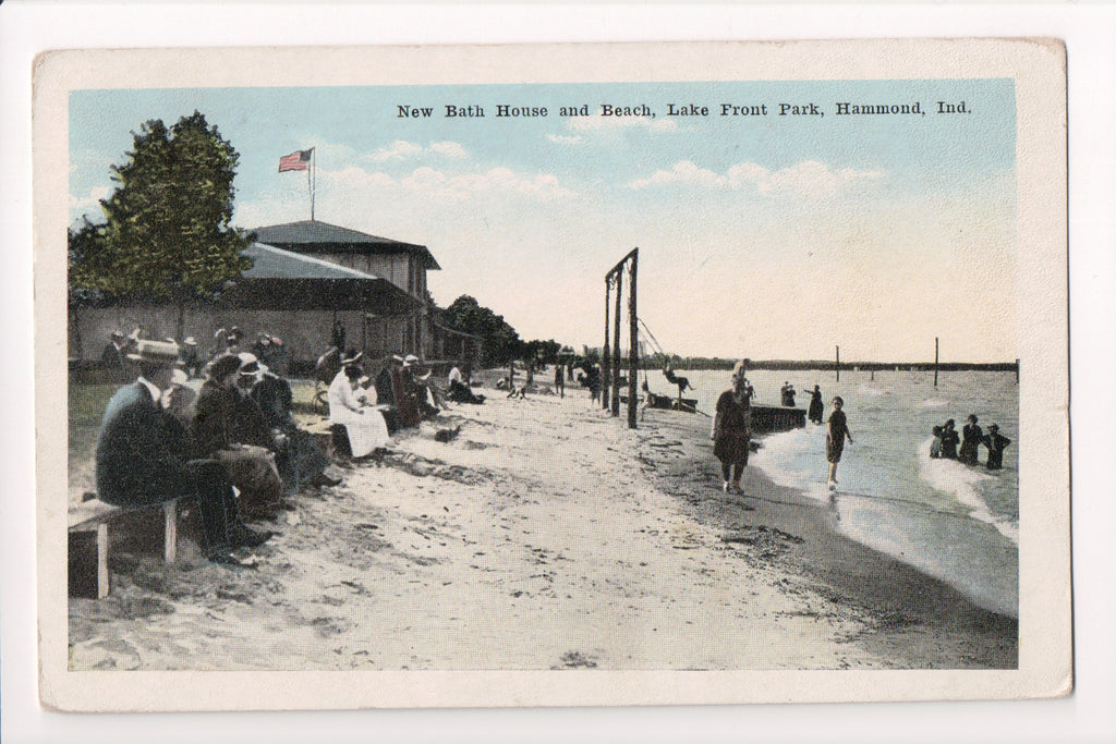IN, Hammond - Lake Front Park New Bath House, Beach - w04795