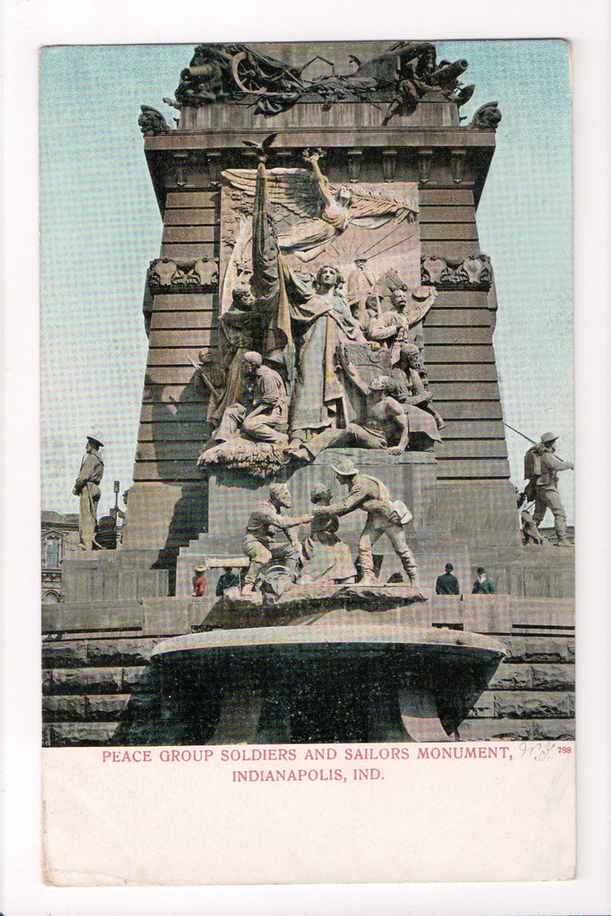 IN, Indianapolis - Peace Group Soldiers, Sailors monument - CP0211