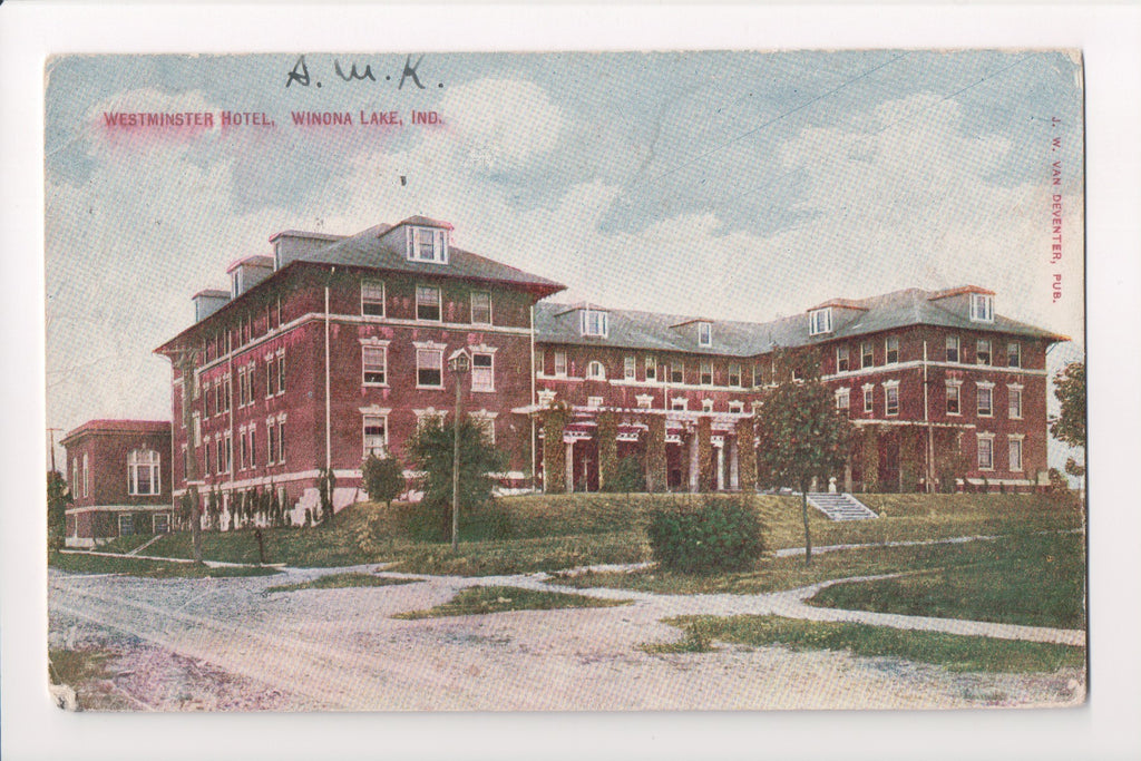 IN, Winona Lake - Westminster Hotel, Van Deventer postcard - w00644