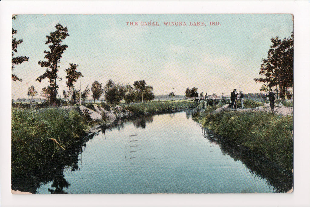 IN, Winona Lake - The Canal, bridge and surveyors (ONLY Digital Copy) - w01565