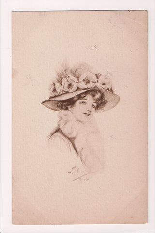 People - Female postcard - Pretty Woman - Sepia - Head shot, big hat - J04085