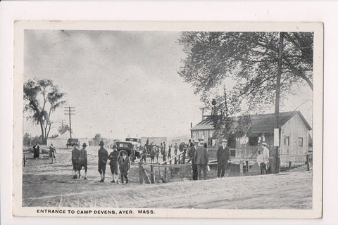 MA, Ayer - Camp Devens entrance postcard - RPO cancel - JJ0598