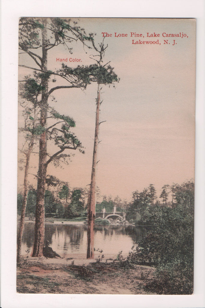 NJ, Lakewood - Lake Carasaljo scene - hand colored - K04183