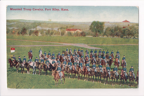 KS, Fort Riley - Mounted Troup Cavalry postcard - B08266