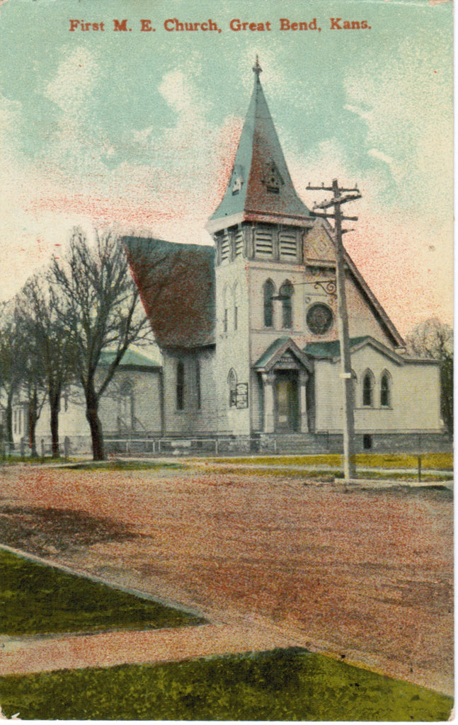 KS, Great Bend - First M E Church postcard - F03237