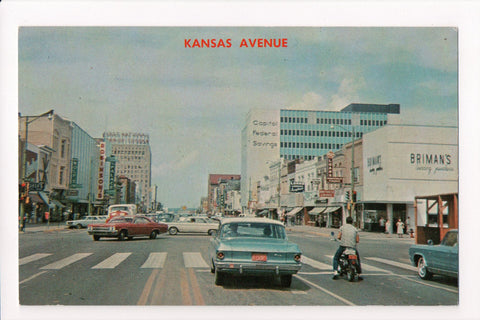 KS, Topeka - Kansas Avenue, signs, old cars - E09023