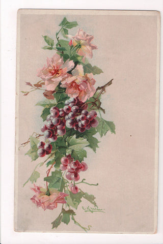 Greetings - Misc - Artist signed C Klein - Grapes and flowers postcard - 801086