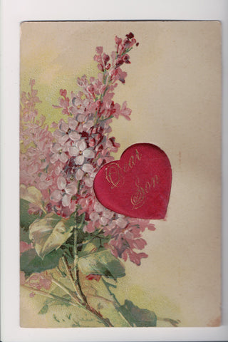 Greetings - Misc - Artist signed C Klein - pink flowers, DEAR SON insert - B0511