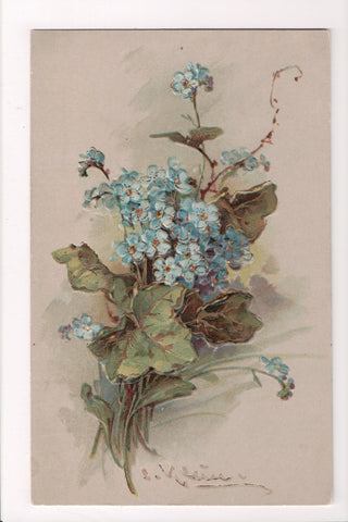 Greetings - Misc - Artist signed C Klein - blue forget me knots postcard - B0529