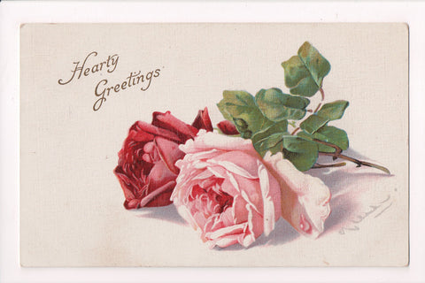 Greetings - Misc - Artist signed C Klein - Pink and red rose flowers - R00781