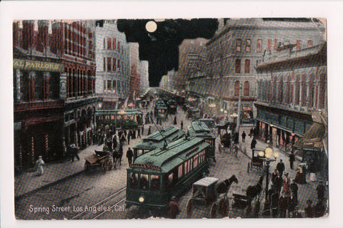 CA, Los Angeles - Spring Street, Store signs, trolly cars, etc postcard - L03012