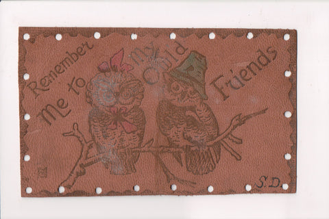 Leather Postcard - REMEMBER ME TO MY OWLD FRIENDS, owls - 800557