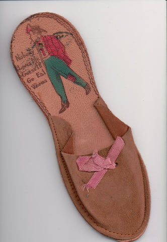 Leather Postcard - ACTUAL slipper with stuffed toe - @1907 - 800630