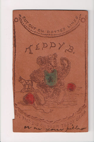 Leather Postcard - TEDDY B - once cut it would be a bib to put on Teddy Bear - 8
