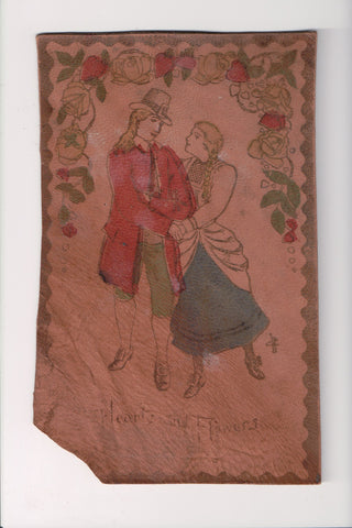 Leather (no postcard back) - Hearts and Flowers - Colonial couple - 800920