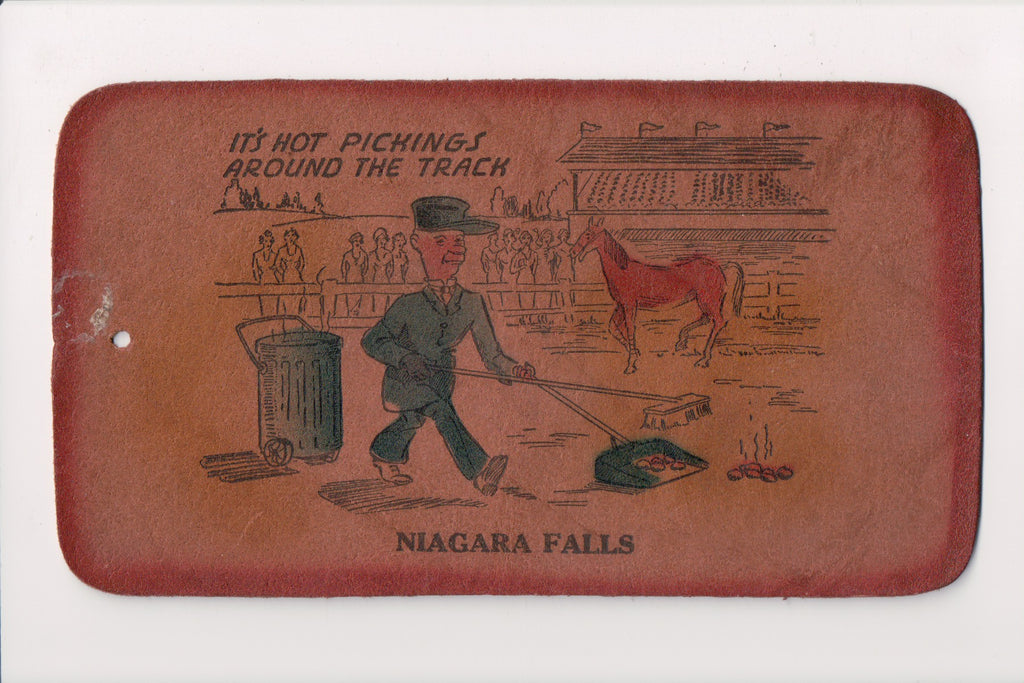 Niagara Falls - Hot pickings around the track - Leather postcard shape tag - C08