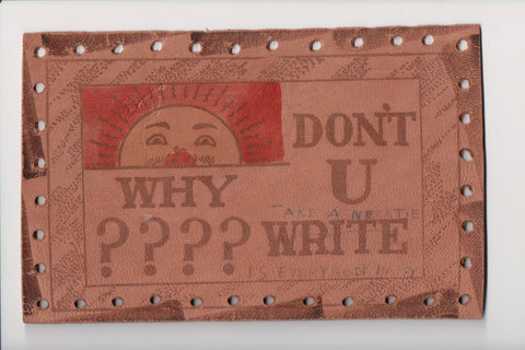 Leather Postcard - WHY DON'T U WRITE - DPO cancel SOUTH OMAHA, NE - C17489